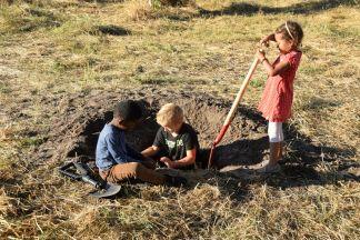 Barnen gräver en hyenafälla